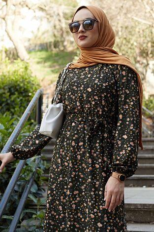 Kuşaklı Çiçekli Elbise 100MD-4568 Haki - Thumbnail