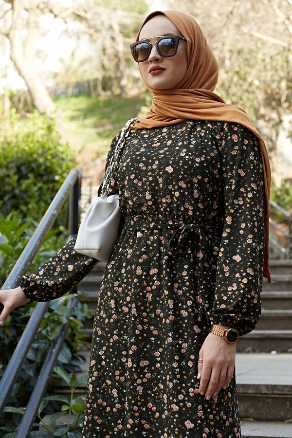 Kuşaklı Çiçekli Elbise 100MD-4568 Haki