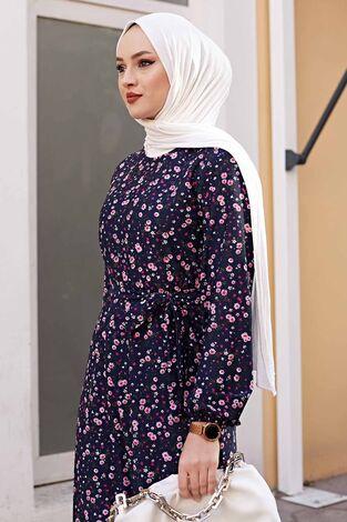Kuşaklı Çiçekli Elbise 100MD-4568 Lacivert - Thumbnail