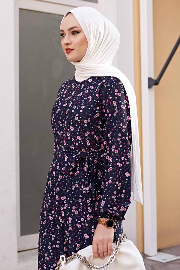 Kuşaklı Çiçekli Elbise 100MD-4568 Lacivert