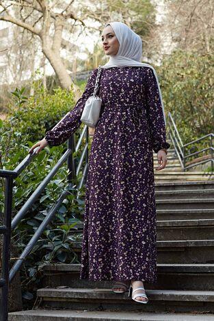Kuşaklı Çiçekli Elbise 100MD-4568 Mor - Thumbnail
