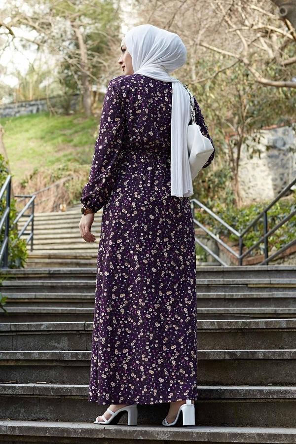 Kuşaklı Çiçekli Elbise 100MD-4568 Mor