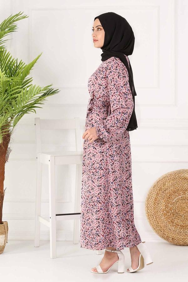 Kuşaklı Çiçekli Elbise 100MD-4568 Pudra
