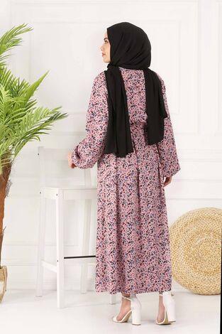 Kuşaklı Çiçekli Elbise 100MD-4568 Pudra - Thumbnail