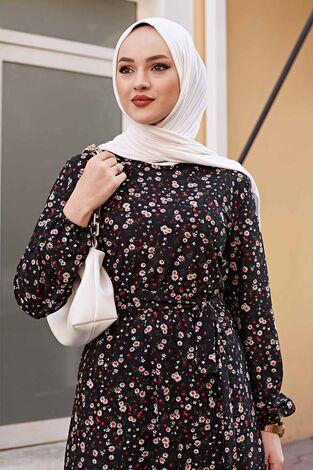 Kuşaklı Çiçekli Elbise 100MD-4568 Siyah - Thumbnail
