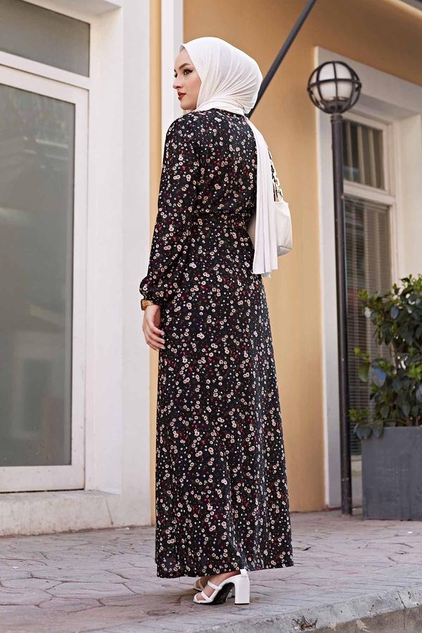 Kuşaklı Çiçekli Elbise 100MD-4568 Siyah