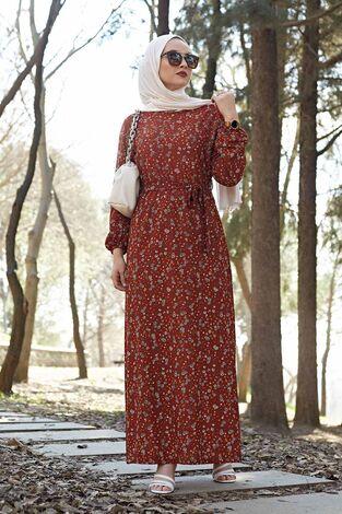 Kuşaklı Çiçekli Elbise 100MD-4568 Taba - Thumbnail