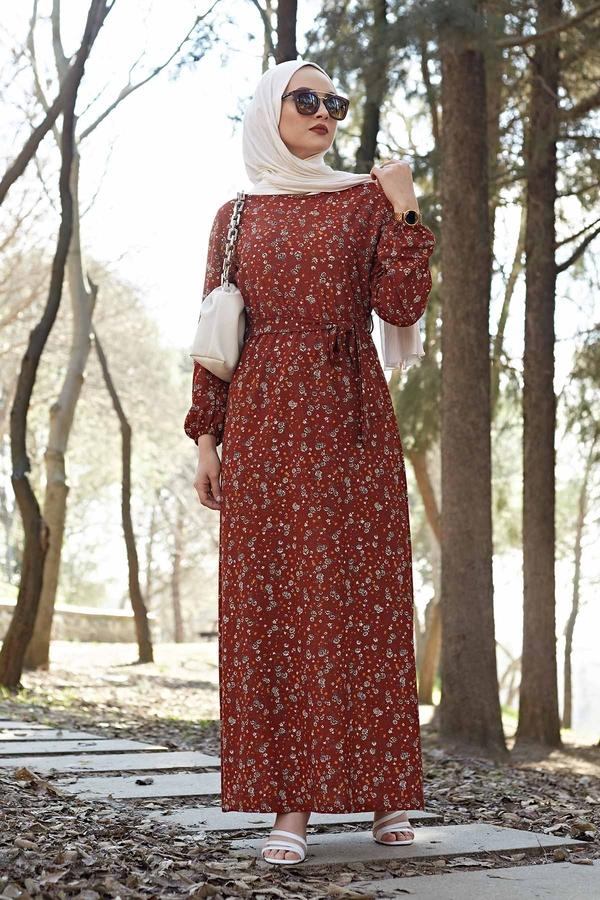 Kuşaklı Çiçekli Elbise 100MD-4568 Taba