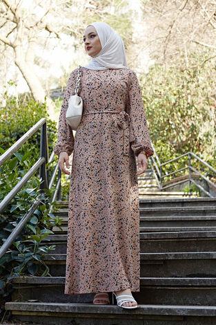 Kuşaklı Çiçekli Elbise 100MD-4568 Vizon - Thumbnail