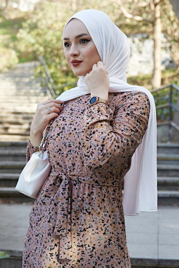 Kuşaklı Çiçekli Elbise 100MD-4568 Vizon
