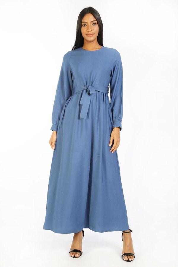 Kuşaklı Elbise 8812-08 mavi