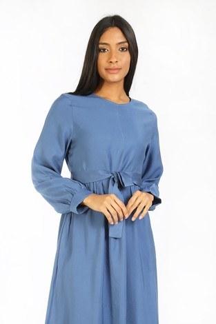 - Kuşaklı Elbise 8812-08 mavi (1)