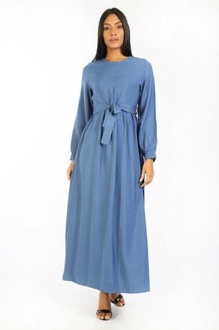 Kuşaklı Elbise 8812-08 mavi - Thumbnail