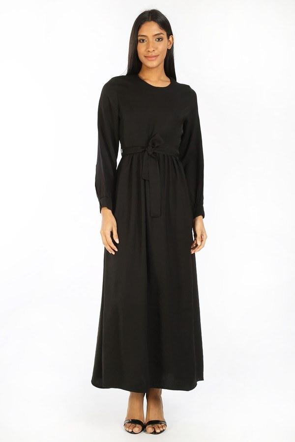 Kuşaklı Elbise 8812-01 siyah