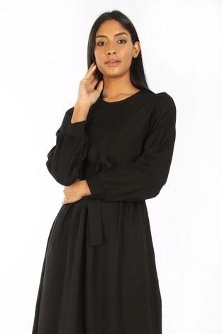 - Kuşaklı Elbise 8812-01 siyah (1)