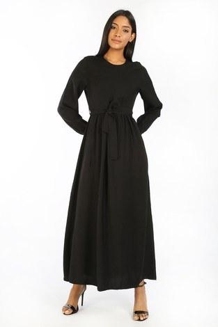 - Kuşaklı Elbise 8812-01 siyah