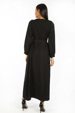 Kuşaklı Elbise 8812-01 siyah - Thumbnail