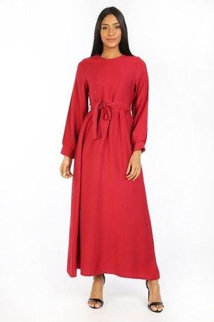 - Kuşaklı Elbise 8812-05 kırmızı
