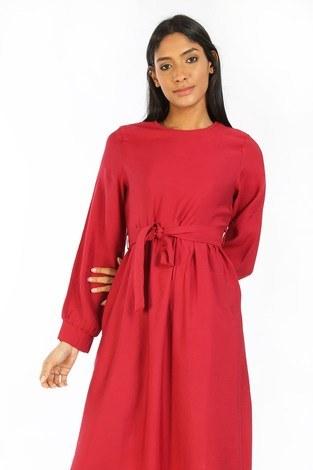 - Kuşaklı Elbise 8812-05 kırmızı (1)