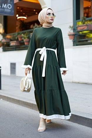 - Kuşaklı Fırfır Detaylı Elbise 17648-20