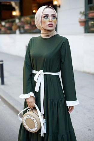 - Kuşaklı Fırfır Detaylı Elbise 17648-20 (1)