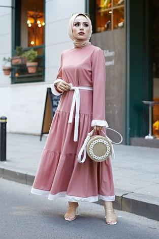 - Kuşaklı Fırfır Detaylı Elbise 17648-25