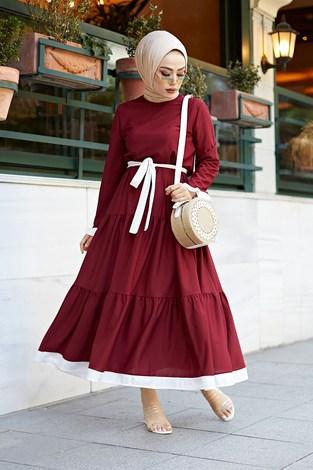 - Kuşaklı Fırfır Detaylı Elbise 17648-30