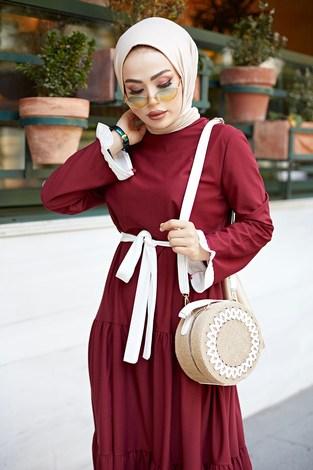 - Kuşaklı Fırfır Detaylı Elbise 17648-30 (1)