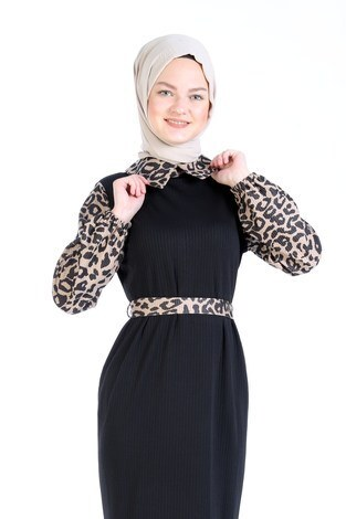 - Leopar Detaylı Elbise 6659-01 (1)
