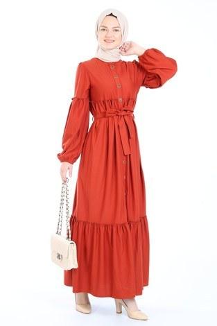 - Kuşaklı Fırfır Elbise 6022-15