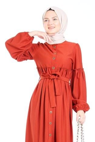 - Kuşaklı Fırfır Elbise 6022-15 (1)