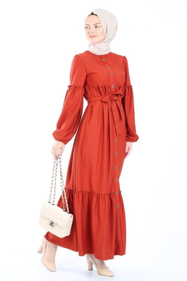 Kuşaklı Fırfır Elbise 6022-15
