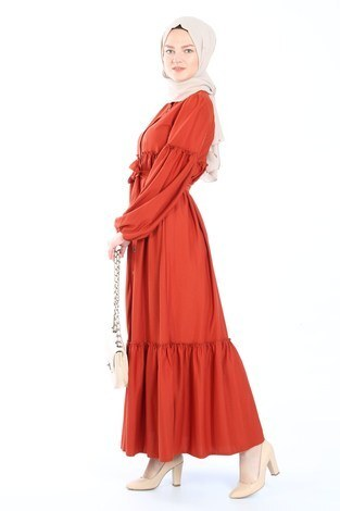 Kuşaklı Fırfır Elbise 6022-15 - Thumbnail