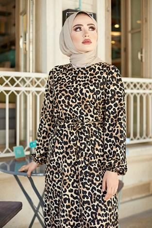 - Kuşaklı Leoparlı Elbise 9786-1 (1)