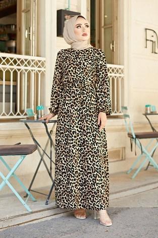 - Kuşaklı Leoparlı Elbise 9786-1