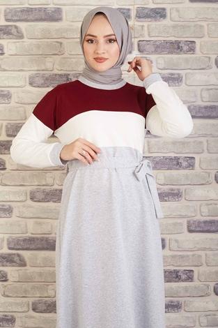 CVN - Kuşaklı Penye Elbise 430CVN567483 Bordo (1)