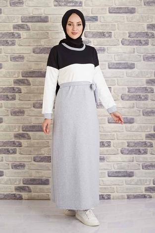CVN - Kuşaklı Penye Elbise 430CVN567483 Siyah