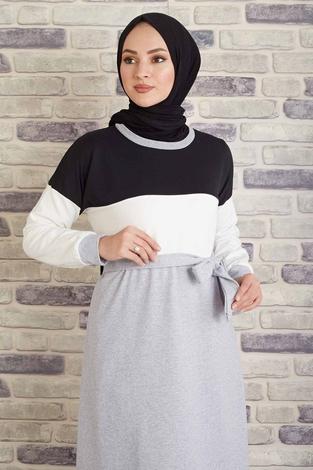CVN - Kuşaklı Penye Elbise 430CVN567483 Siyah (1)
