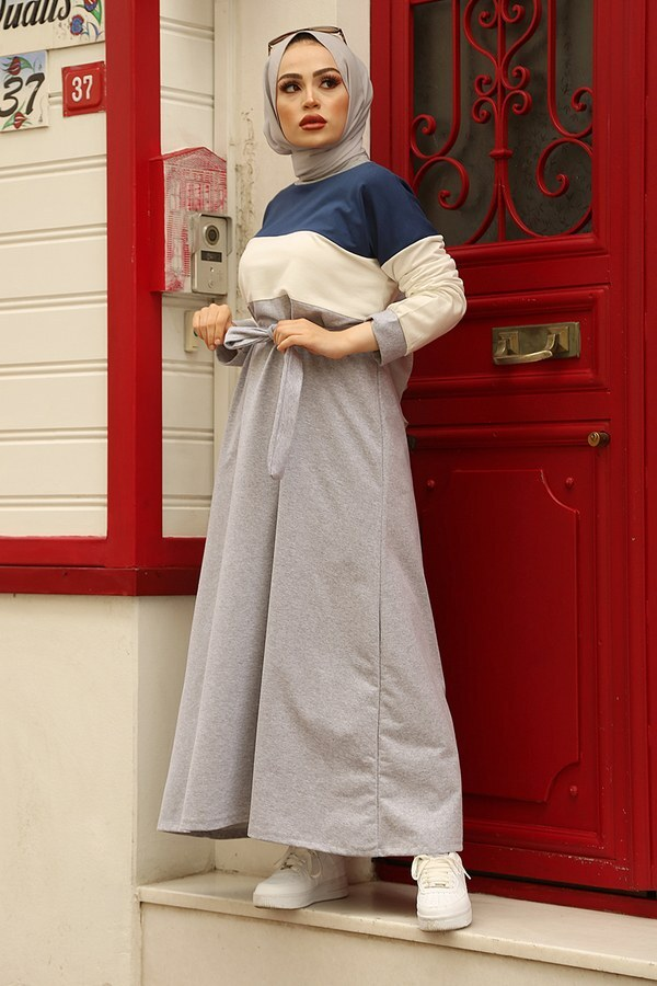 Kuşaklı Penye Elbise 567483-2 Lacivert