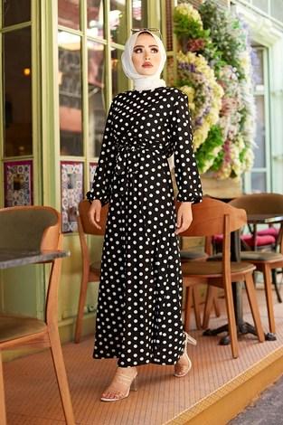 - Kuşaklı Puantiyeli Elbise 1353-1 Siyah