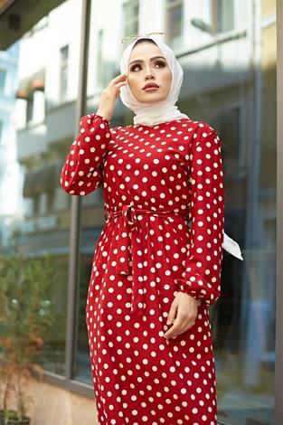 - Kuşaklı Puantiyeli Elbise 1353-2 Kırmızı (1)