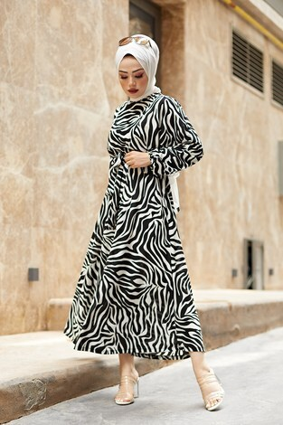 - Kuşaklı Yarasa Kol Elbise 17611-1 Beyaz