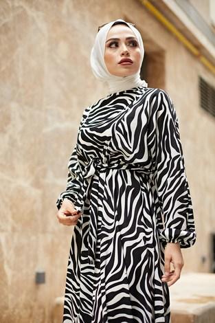 - Kuşaklı Yarasa Kol Elbise 17611-1 Beyaz (1)