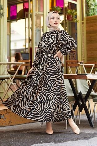- Kuşaklı Yarasa Kol Elbise 17611-6 Bej
