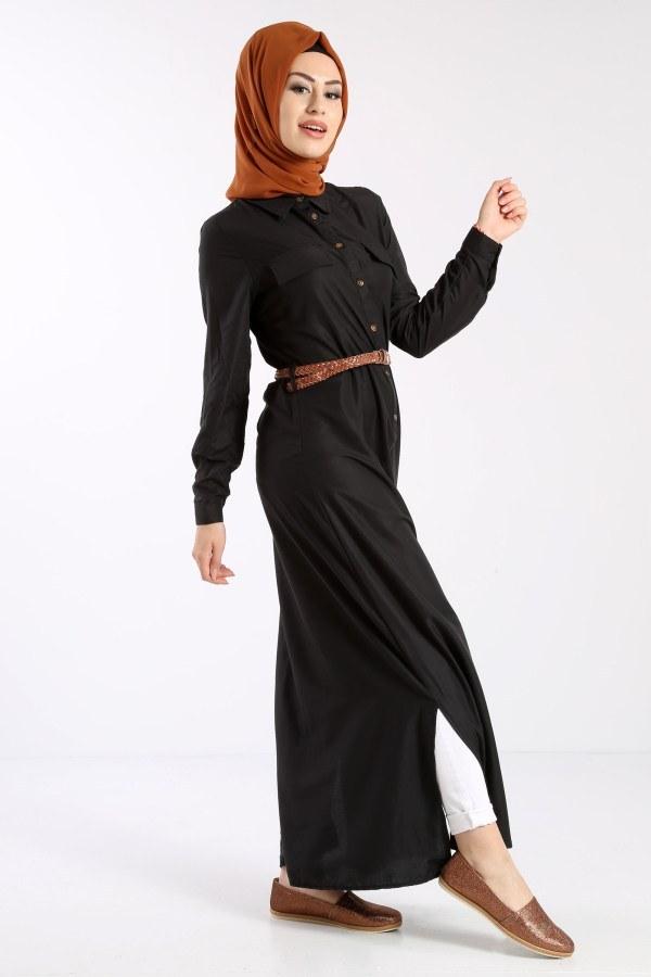 Giy Çık Boydan Gömlek Elbise 1628-01