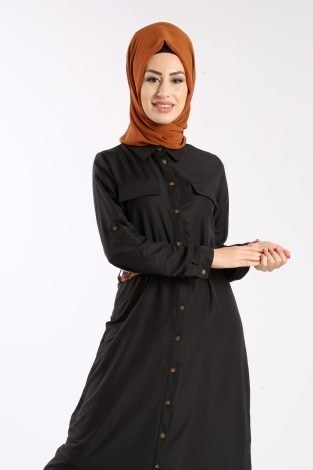 Giy Çık Boydan Gömlek Elbise 1628-01 - Thumbnail