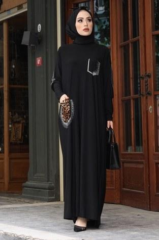 Leopar Cepli Taş İşlemeli Ferace Elbise 16320-1 Siyah - Thumbnail