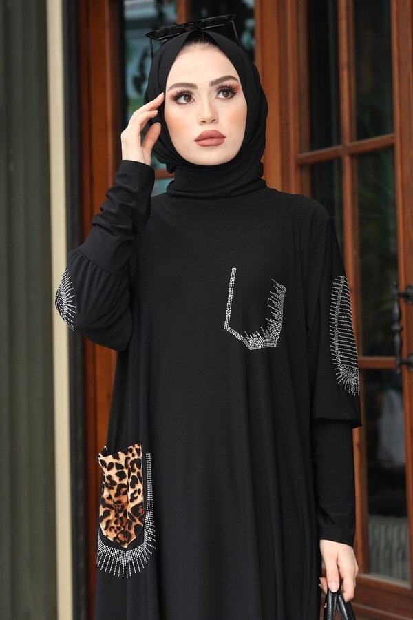 Leopar Cepli Taş İşlemeli Ferace Elbise 16320-1 Siyah