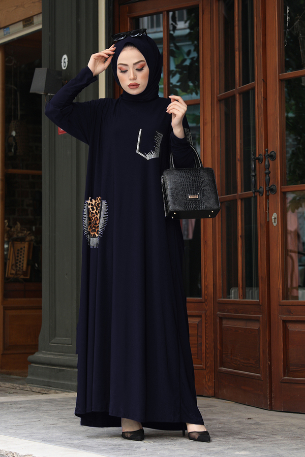 Leopar Cepli Taş İşlemeli Ferace Elbise 190E-16320 Lacivert