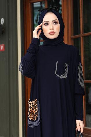 Leopar Cepli Taş İşlemeli Ferace Elbise 190E-16320 Lacivert - Thumbnail